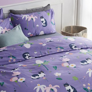 Purple Yu single single bed / bed bag hand-painted cat 40 cotton bedding pillowcase quilt cover