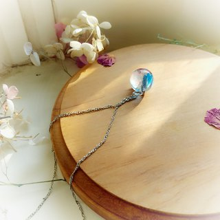 Aqua Blue Elf Hydrangea Crystal Ball Clavicle Necklace Rose Dye