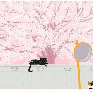 Taberneck Illustration Print (A3 size) | 04. Under the cherry tree | Art poster