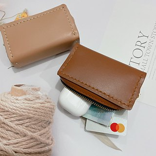 Coin purse three-dimensional rectangular zipper section hand-stitched original hand-made leather