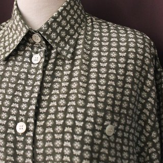 Vintage European Simple Gray Green Geometric Print Loose Long Long Sleeve Vintage Shirt Vintage Blouse