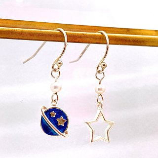 The Blue Planet and Star Silver 925 & Fresh Water Pearl Earrings