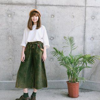 Rainbow wide trousers hanging in pocket | Forest Green