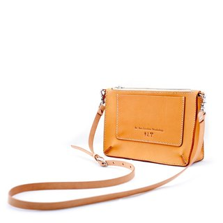 Be Two ∣ handmade cowhide thick flat bag / leather shoulder side back / cross back / carry bag / small bag (multicolor)