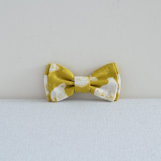 Bow Hair Clip - Bright Yellow Polar Bear