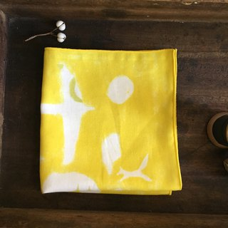 Illustration series / forest flight - yellow / double yarn handkerchief 100% cotton