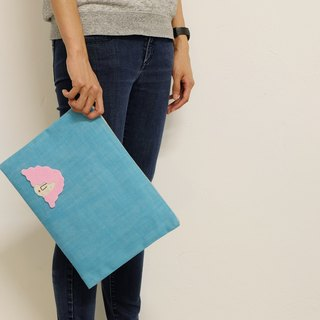 Miss Hairy Collection / Japanese Denim Fabric Clutch / Sky Blue