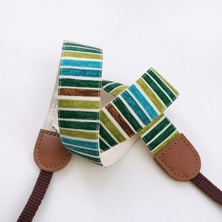 Green and green striped camera strap