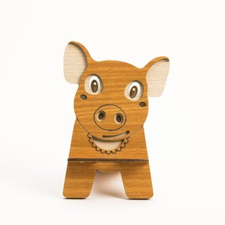 Wood Formula[Customized-Color Pattern Lettering can be Replaced]Wood Mobile Holder-12 Zodiac (Pig) Mobile Phone Holder