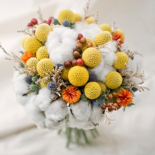 Yellow circle waltz / outdoor wedding bouquet / hand-made dry flower ceremony / wedding small things / customized