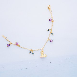 Tong Le - small deer - purple precious stone crystal than the bracelet