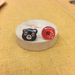 Oops bear  - black bear & red ball earring