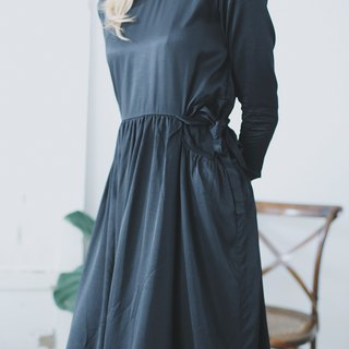 Dress three acetate silk textured bow nine-point sleeves slim little black dress syd and ling