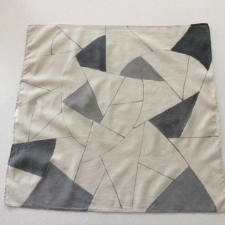 Mineral dyed hand-painted cotton handkerchief style line grayscale one tone version