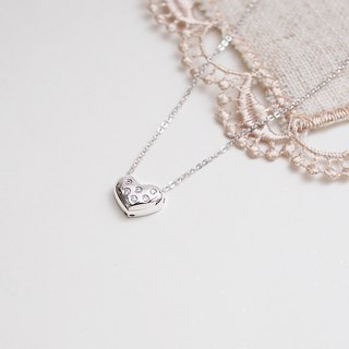 Pill-shaped love zircon necklace heart and eight arrows for sterling silver silver925 heart ハート