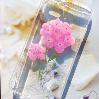 Pressed flower phone case, iPhone 7 plus,iphone 8 plus, Pink hydrangea