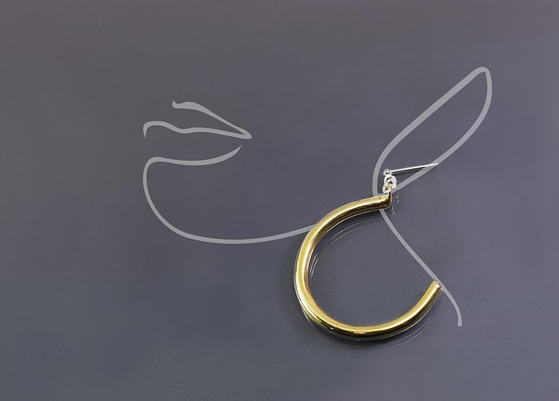 質感系列-黃銅大C耳環(一對)