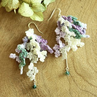 Purple&Green Piecemeal Flowers Earring HandCrocheted SV925 Valentine's