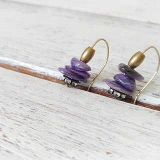Purple Dragon spar fragments 14KGF earrings / Charoite beads with 14KGF earring