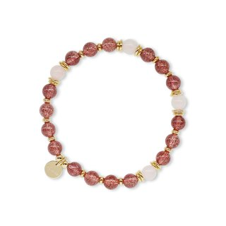 String Series Brass Strawberry Crystal Powder Bracelet Natural Mineral Crystal