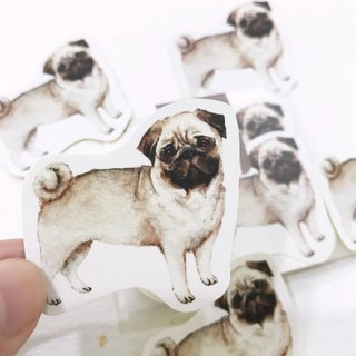 Puppy Series Sticker-Stickers!Watercolor,illustrations,Sticker,Pug Sticker,cute Stickers,Handmade Sticker,Laptop Sticker