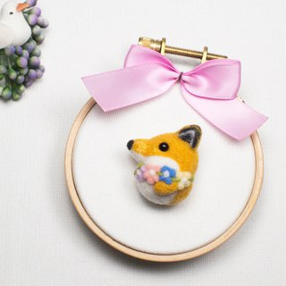 Needle-felted Flower Fox (brooch/key ring/phone strap)
