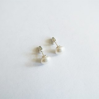 Egg-shaped/8mm/Pearl/Earrings/Sterling Silver/By hand【SZE1796】