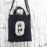 貓咪 黑色-A4手工車縫印製 帆布手提袋/斜背袋/肩背袋