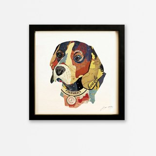 Beagles puppy collage print head