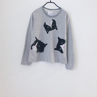 cat cat cat long sleeve - crop top - Gray