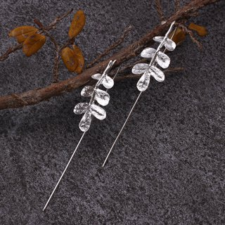 Pepper Tree Leaf 925 Sterling Silver Earrings Nature Plant