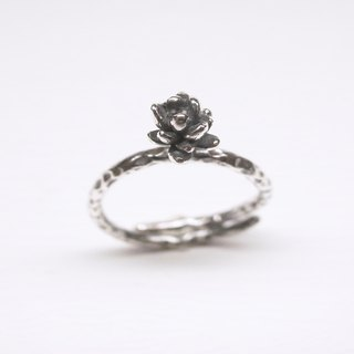 Ebony silver meat series small succulent adjustable ring sterling silver ring