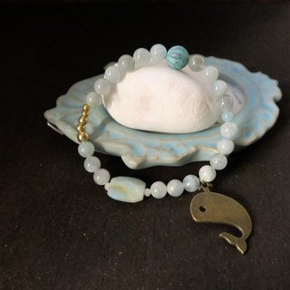 Sea whale [spirituality small hand] sea blue treasure. Tianhe stone brass beaded lap bracelet gift