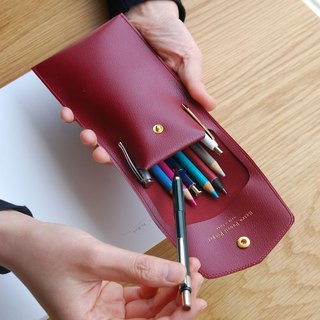 PLEPIC - Treasure Imitation leather buckle pencil case - Burgundy red, PPC93563