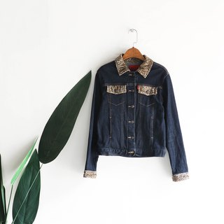 Kagoshima deep black and blue youth rock log antique cotton denim shirt jacket coat vintage