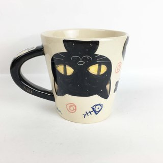 Nice Little Clay wide mouth big mug happy upside down black cat 01061-17