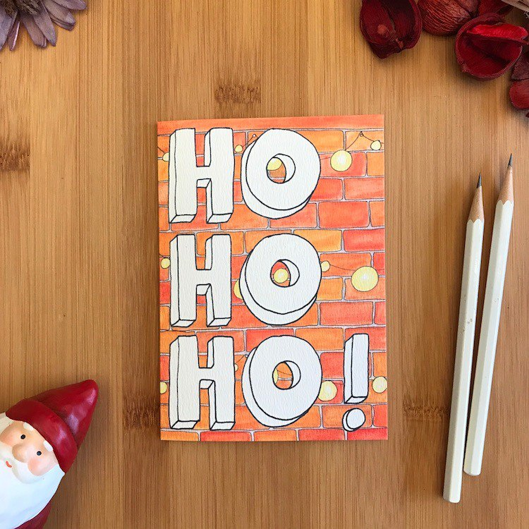 HO HO BRICKS Christmas card hand-painted illustration of environmentally friendly paper imported cards C106