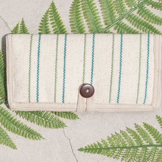 Handmade cotton and linen wallet / woven stitching leather long clip / long wallet / purse / woven wallet - green rainbow