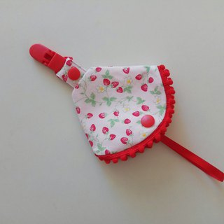 Strawberry small cotton ball combined with a pacifier clip < pacifier dust cover + nipple clip> dual function pacifier cover