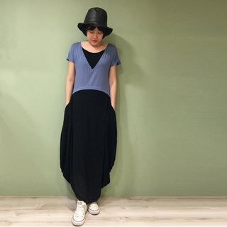 Dress fake two round design long ocean - blue with black