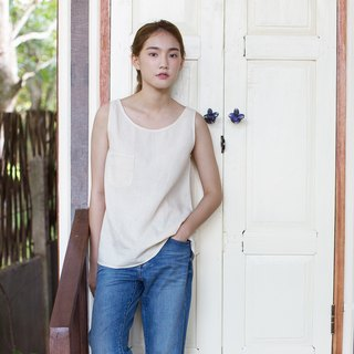 Cotton-hemp Blend Round Neck Vest Natural Color