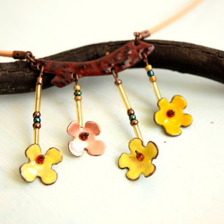 Apple Flower, Enamel Necklace, Flower, Blossom Jewelry, Apple Flower Necklace,
