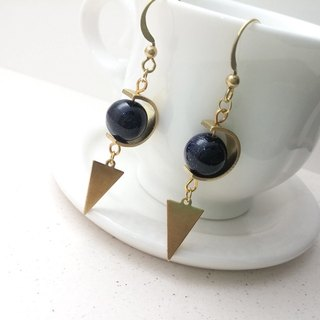 Brass earrings blue sandstone C ring triangle ear hook