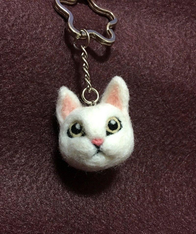 羊毛氈  白貓 大頭 鑰匙圈 吊飾