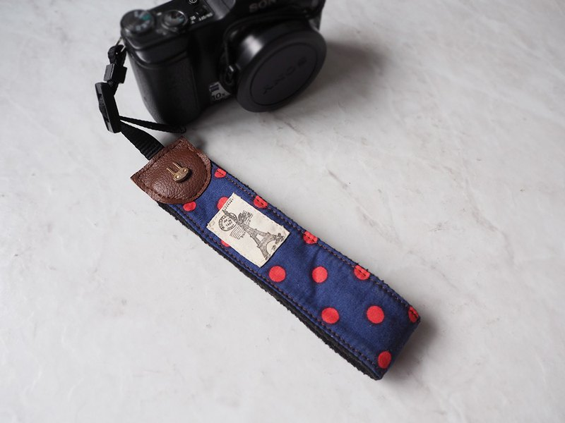 Hand-made camera wrist strap camera rope store and camera strap (red dot blue) H01