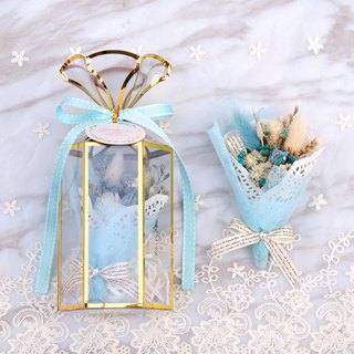 Mini Dry Bouquet Gift Box - Blue with Blue Card