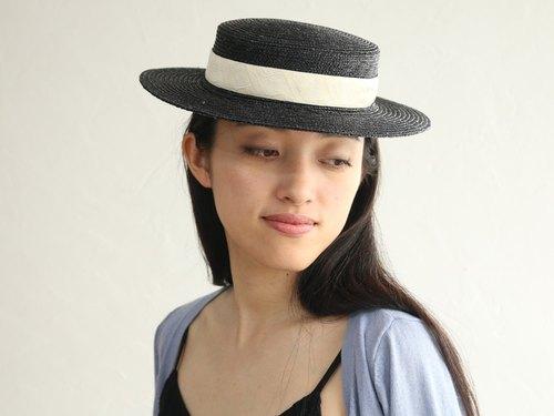 ad0f7e7f6bb0b1 Black Straw Boater Hat