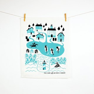 Forest & Waves tablecloth / New England New England Teatowel