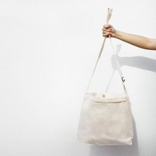 2 way canvas tote bag- White. Short handle