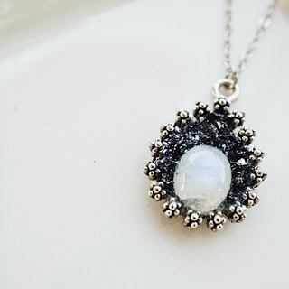 Crushed Hematite Oval Moonstone Necklace